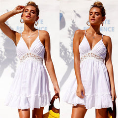 Sexy Mini Dress Bohemia Summer Boho Lace  Dress Women Sleeveless Backless High Waist Dress Female V-Collar Beach Dress Girl