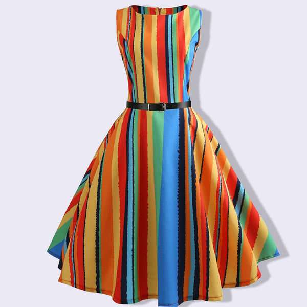 2018 Fashion  Vintage Sleeveless Summer Dress Hepburn A-line Print Women Casual Sexy Vintage Elegant Evening Party Dress