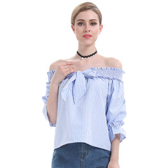 Women Blouse Elegant Bow Blue Off Shoulder Female Blouse Shirt Sexy Summer 2018 Girls pink blouse Women Tops Striped Blusas