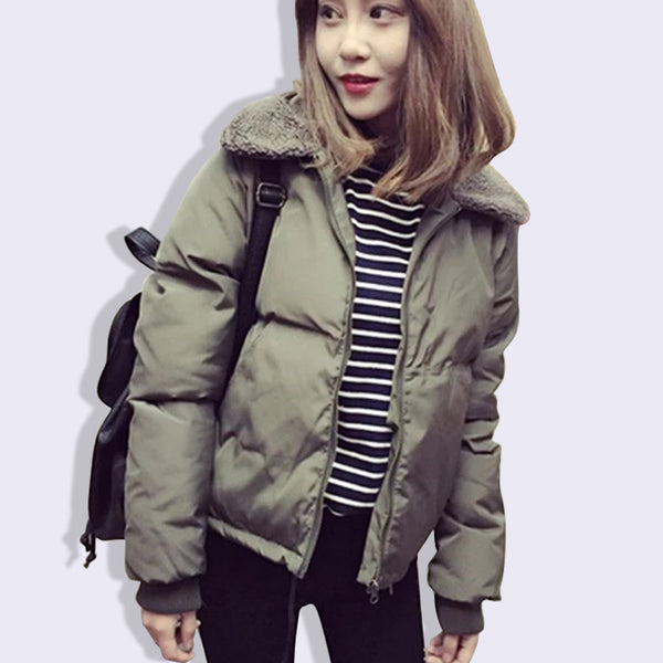 Product Image 2018 Solid Color Winter Coats Women Short Parka Thick Warm Cotton Padded Coat Lamb Wool Collar