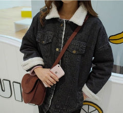 New 2018 Autumn Winter Women lambswool Denim Coat Pockets Long Sleeves Warm Jeans Coat Outwear Wide Denim Jacket Drop Shipping