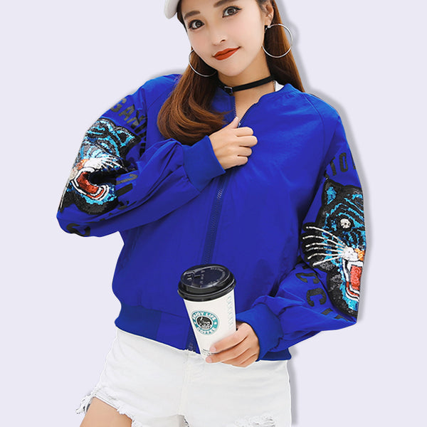 Drop Shiping 2018 Spring Autumn Bomber Jacket Women Men Tops embroidery Long Sleeve Basic Coat Casual Outerwear Bomber Jacket