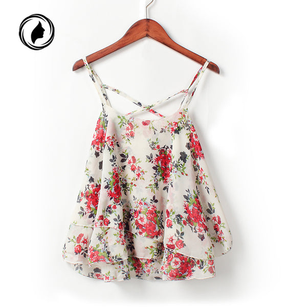 2018 Blusa Hot 4Colors Women Summer Strap Floral Print Chiffon Blouse Sexy Tops Retro Floral Cross-Shoulder Shirts Sleeveless T