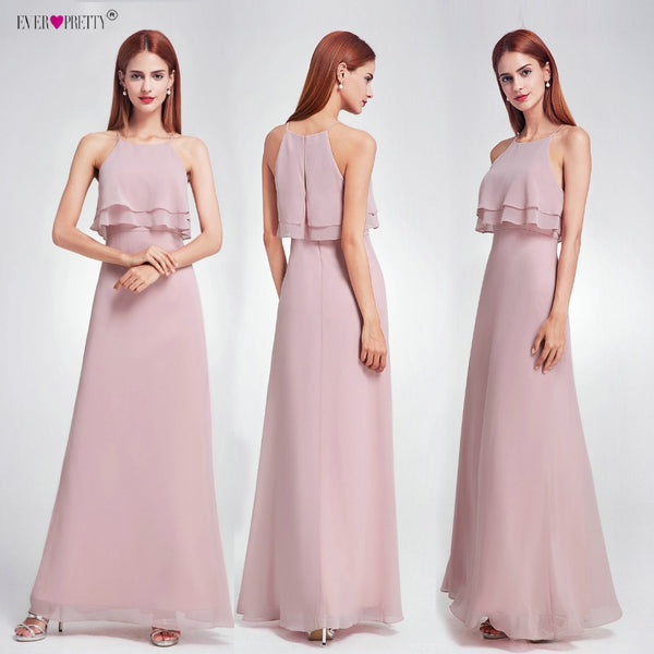Ever Pretty 2018 Cheap Bridesmaid Dresses EP07137 Long Ruffles Chiffon Wedding Occasion Gowns Girl Dresses for Wedding Party