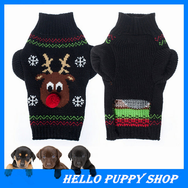 Soft Cozy Pet Dog Knit Warm Winter Sweater Clothes Apparel Coat Chrismas
