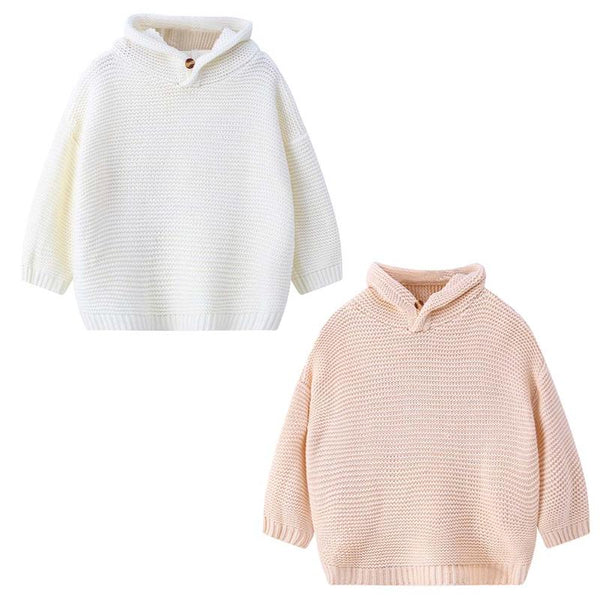 Fashional Winter Warm Clothes For Kids Korean Kids Girls Rabbit Ears Hooded Long Sleeve Knitted Sweater Favorite Chrismas Gift