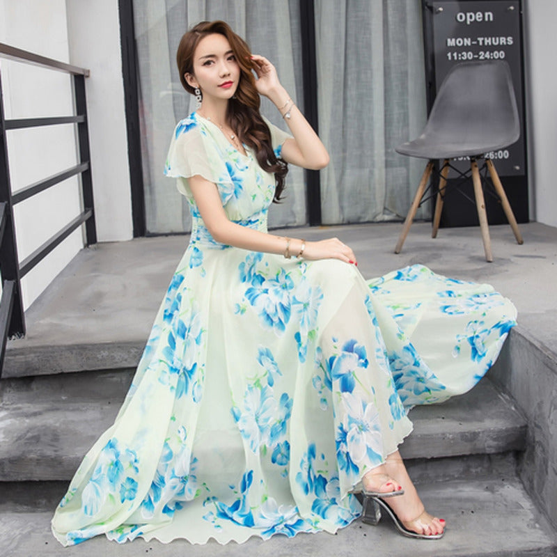 a85cea9626 Summer Maxi Dresses Womens 2018 Short Sleeve White Red Froral ...
