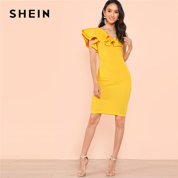 c773290100 SHEIN Yellow Party Elegant Ruffle Detail Tiered Layer Cuff One Shoulde