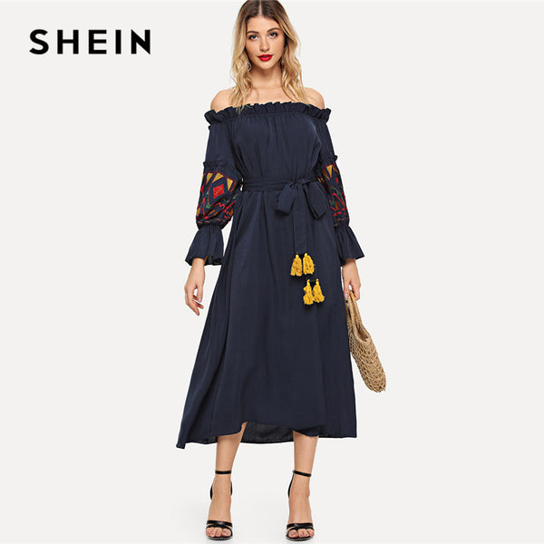 a11ae084d2 SHEIN Black Embroidered Lantern Sleeve Bardot Dress with Tassel Belt V