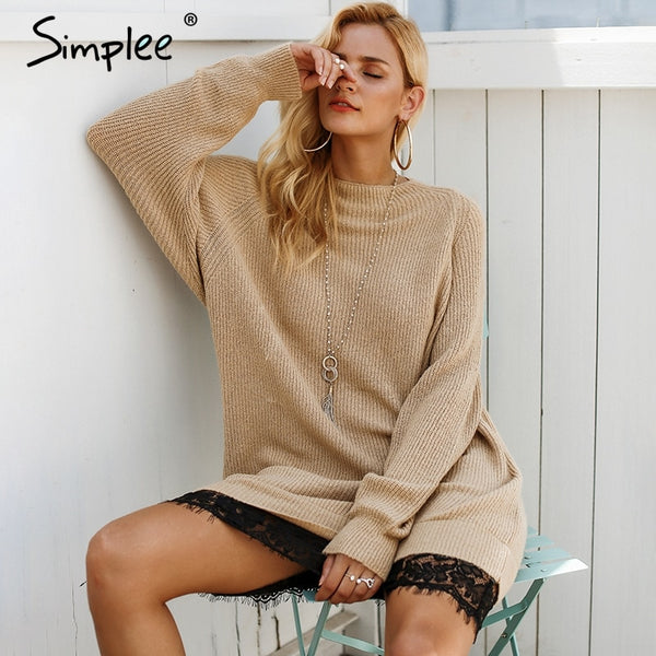 1b04d96c0da7 Simplee Splice lace hem women sweater dress O neck loose casual long s