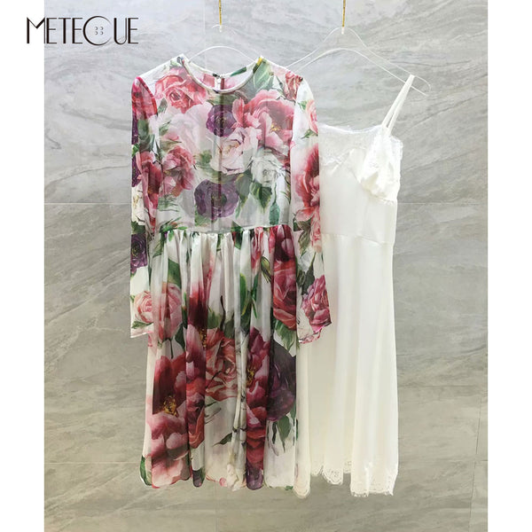 2 Piece Set Floral Dress 2018 Pre Fall Fashion 100% Silk Long Sleeve High Waisted Dress with Inner Dress 2018 Fall Winter