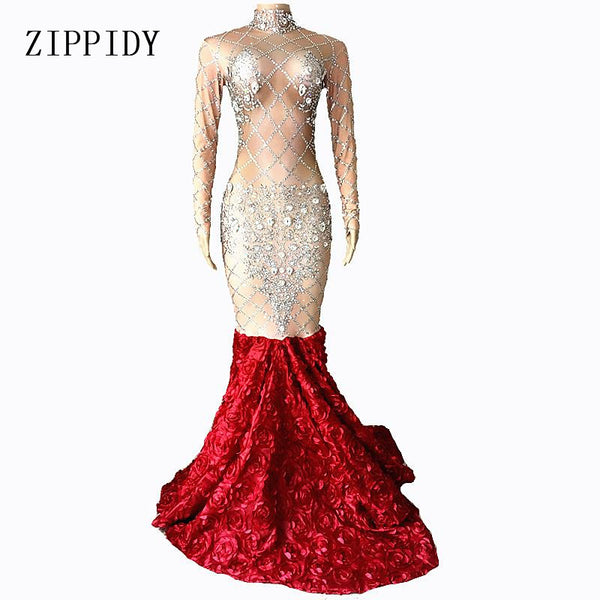Sparkly Big Crystals Dress Long Train Women Birthday Costume Prom Celebrate Nude Red Flower Tail Dresses Evening Outfit