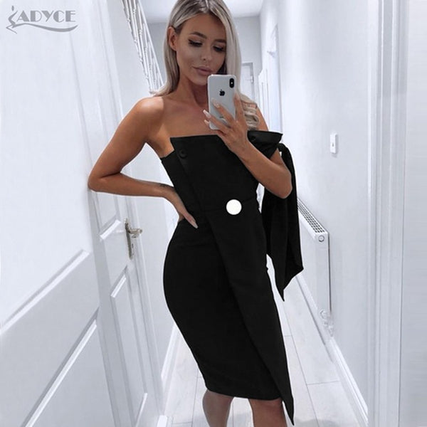 634f434fe31 ... Adyce Women Dresses 2018 New Summer Arrival Casual One shoulder Tied Elegant  Button Tassel Celebrity Party