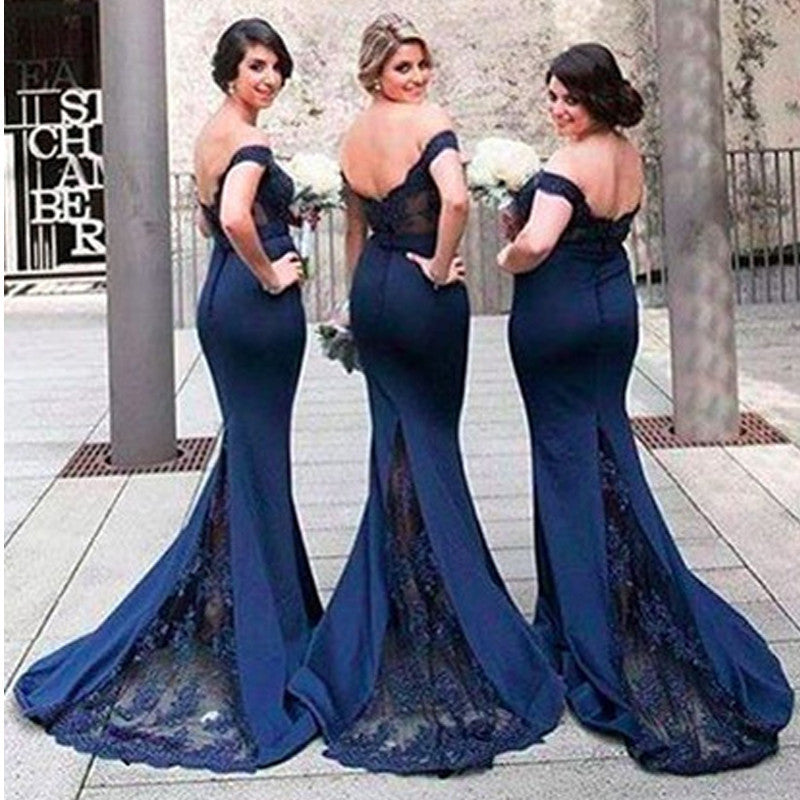 e78da21b2a1 Product Image 2018 Newest Sexy Navy Blue Mermaid Bridesmaid ...