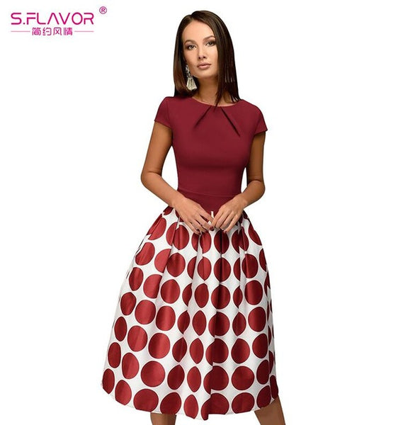 5d3ef5674a ... S.FLAVOR Vintage style women wave point dress Hot Sale short sleeve  patchwork A- ...