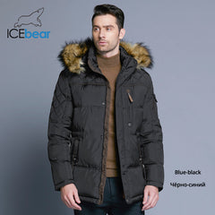 ICEbear 2018 Fashion Winter New Jacket Men Warm Coat Fashion Casual Parka Medium-Long Thickening Coat Men For Winter 15MD927D