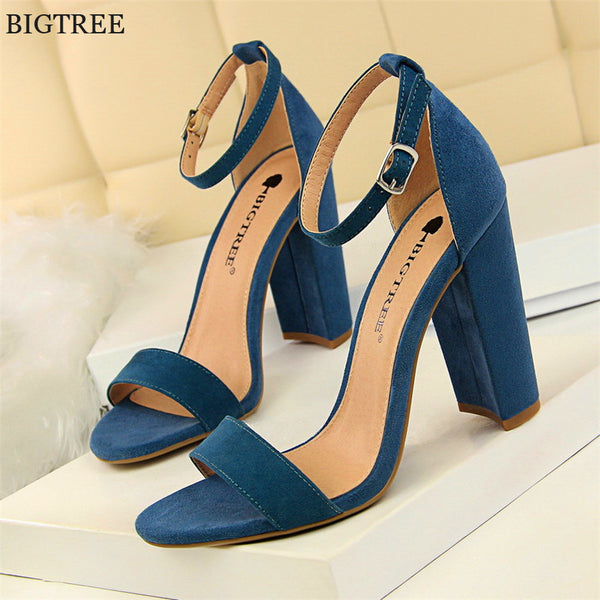 Party Women New Open Buckle Women's Sandal Colors Flockpu Heels Sandals Concise Summer 8 Shoes Toe 2018 Sexy Bigtree Solid High mO80wvNn