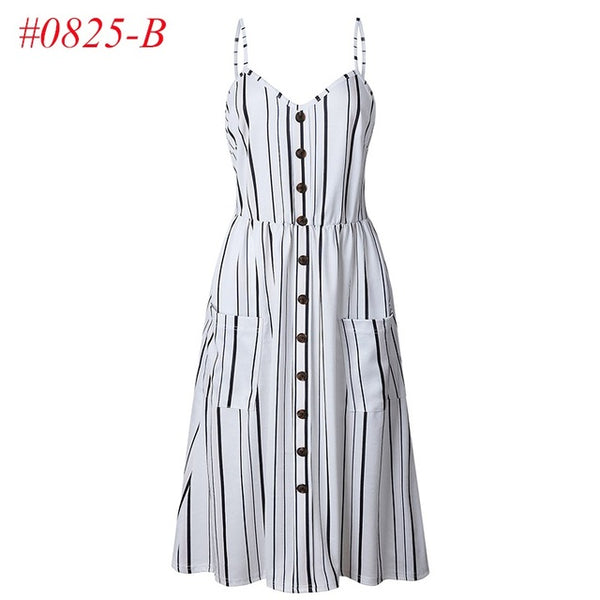 9e480e5731 ... Women s Sexy Summer Dresses 2018 Boho Backless Sleeveless Button  Striped Solid Midi Dress Slip Sundress With ...