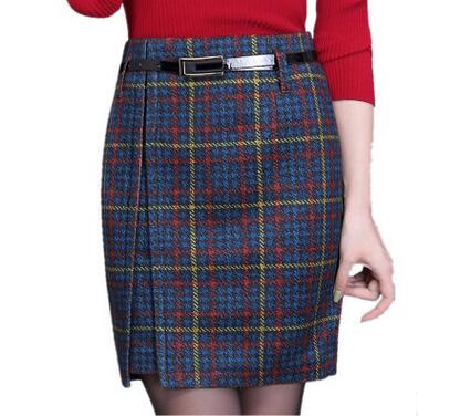 Woolen Skirts Women High Waist Work Pencil Skirt Female Career OL Woolen Skirt Plus Size Fashion Vintage Autumn Winter Skirts