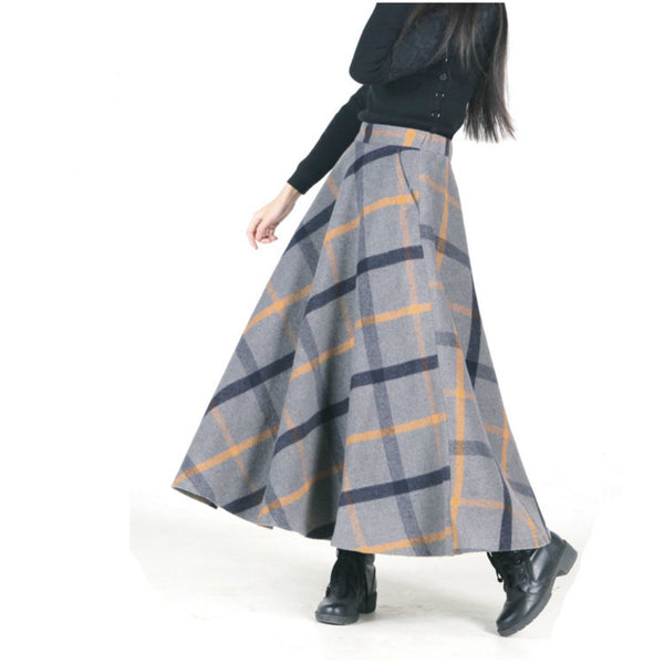 02bf1a53572 New Retro Chinese Long Woolen Skirt 2018 Spring Winter Women A-line Wo