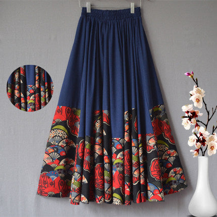f2b420d632 Cotton linen skirts casual elastic waist loose spring autumn national trend  new arrival plus size ankle-length skirts mgq0601