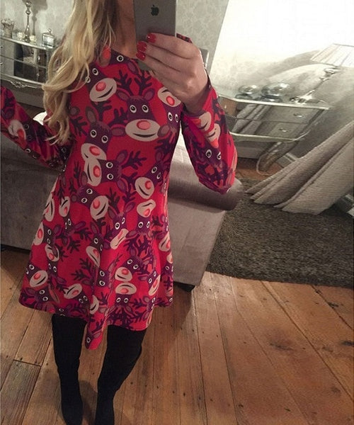 S-5XL Large Size Winter Women Dresses Casual Cute Printed Christmas Dress  Casual 2018 Loose Party Short Dress Plus Size Vestidos