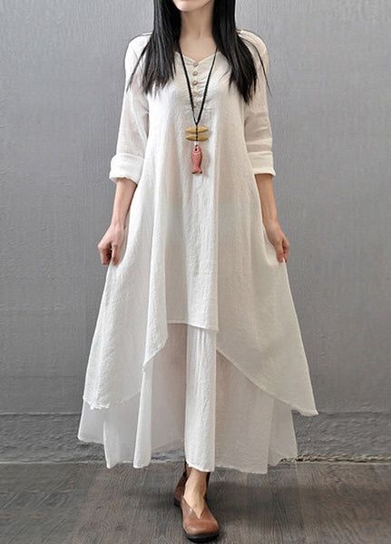 220a6a3557b0 white linen long maxi dress boho gypsy dress Women Long Sleeve ethnic