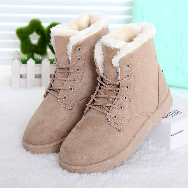 992fb762cfdf ... LAKESHI Hot Women Boots Winter Warm Snow Boots Women Botas Mujer Lace  Up Fur Ankle Boots