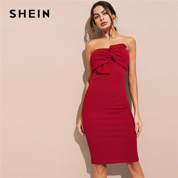 4fe4952cfb SHEIN Burgundy Bow Front Tube Dress Party Sexy Strapless Stretchy Shea