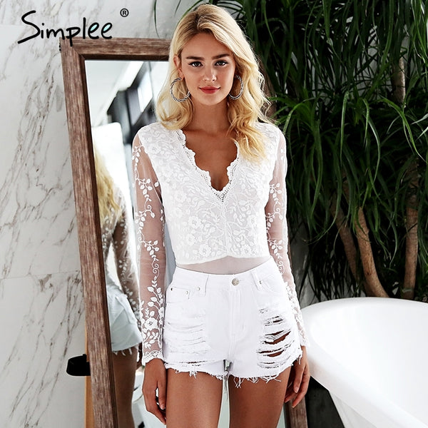 6e4b180fc Simplee V neck white lace bodysuit women Long sleeve bodysuit playsuit