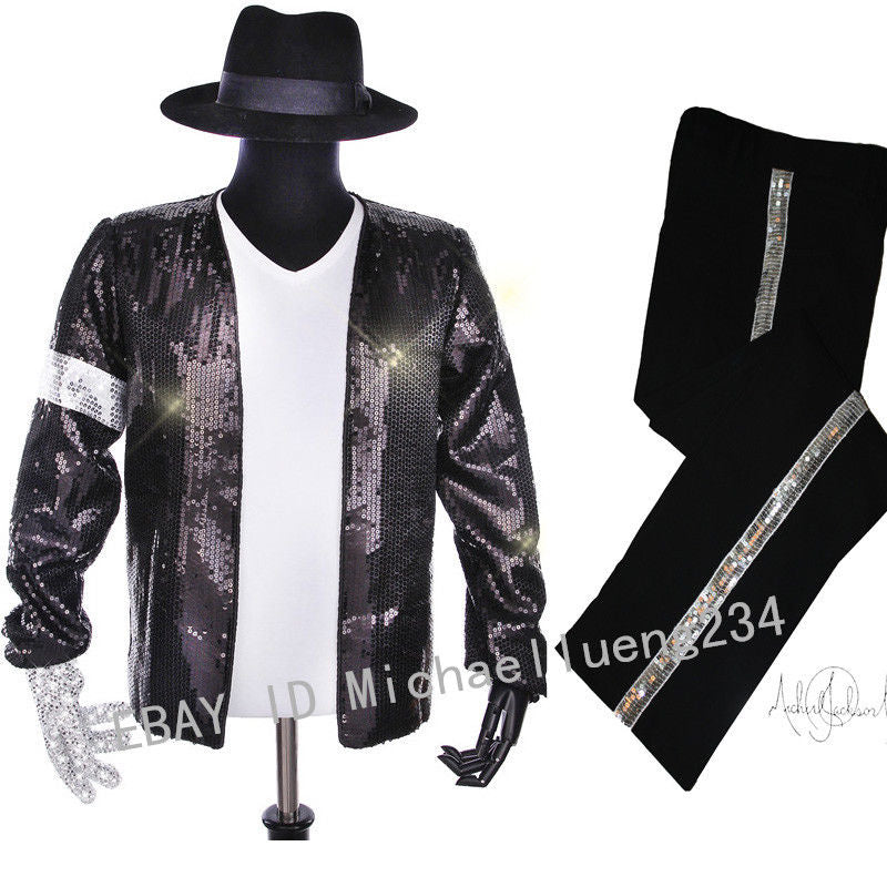 bc5071c45 Halloween Christmas Costume Party Classic MJ Michael Jackson Billie Jean  Sequin Jacket Hat Pants Glove Socks Kids Adults Show