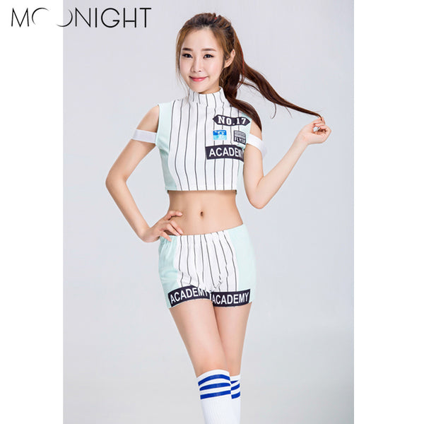 MOONIGHT High Quality New Sexy Cheerleader Uniform High School Cheerleading Costume Women Tops+Shorts
