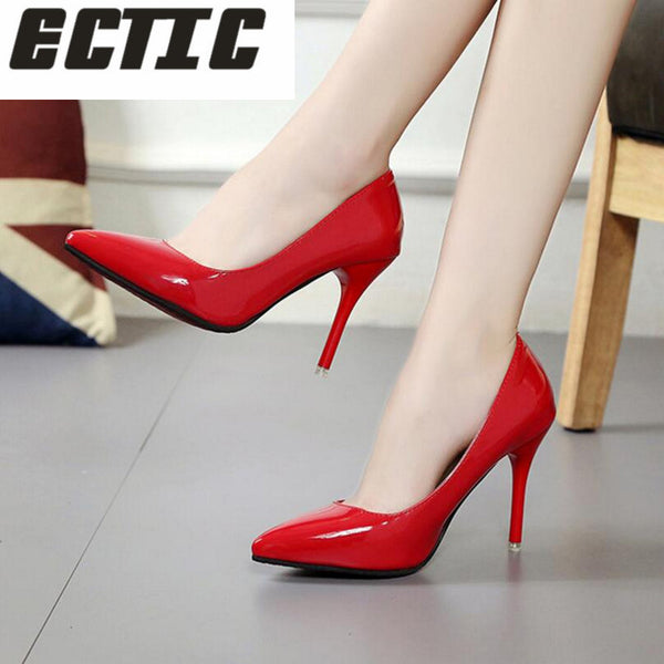 ECTIC Women Shoes Pointed Toe Pumps Patent Leather Dress Shoes High He