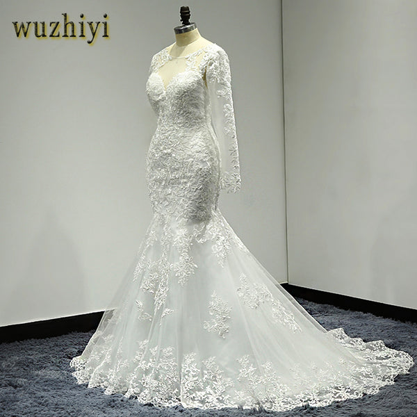 Wuzhiyi Wedding Gown Long Mermaid Wedding Dress Cap Sleeve Lace Bridal