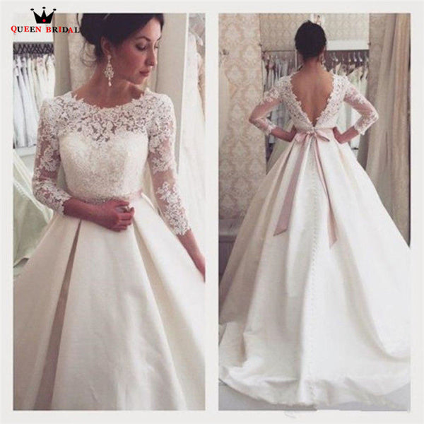 823e324c1bce Ball Gown 3 4 Sleeve Lace Satin Elegant Formal Bridal Gown Wedding Dre