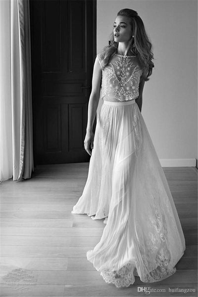 2 Piece Wedding Dress Plus Size Photo 2018 lace vintage wedding dresses  beach bohemian boho plus