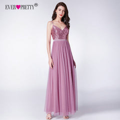 Long Bridesmaids Dresses Ever Pretty EP07392 Elegant A Line V Neck Tulle Wedding Party Gowns Sequins Vestidos De Damas De Honor