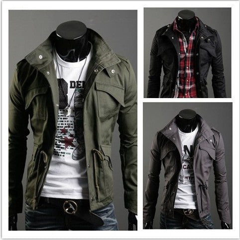2018 New Slim Sexy Top Designed Mens Jacket Coat Turn Down Collar jaqueta Black Army Green Gray England Style NZ24 Dropshipping