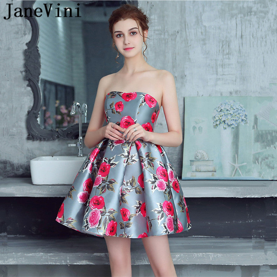 JaneVini Floral Print Short Bridesmaid Dresses 2018 A Line Strapless Satin  Zipper Back Charming Girls Homecoming Gowns Plus Size d59d76781020