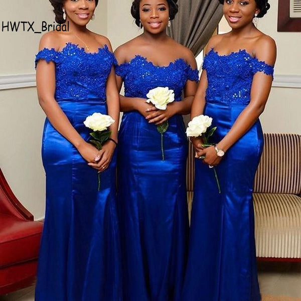 e0bad9374f Royal Blue Lace Bridesmaid Dresses Long Off Shoulder Mermaid Cheap 2018  Bling Sequined Zipper Back Party Gowns For Weddings