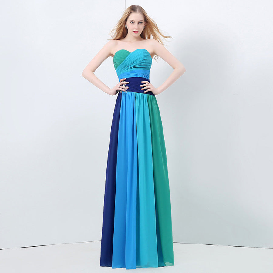 Robe demoiselle d\'honneur2017 chiffon crystal aline turquoise bridesmaid  dresses long plus size cheap bridesmaid dressunder 50