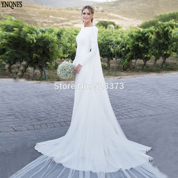 90718a4ac7421 YNQNFS W85 Vestido de Noiva Simples Simple Wedding Dress Backless Long