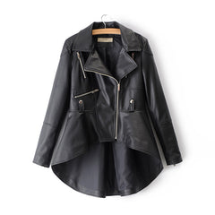 Autumn Female Black PU Faux Leather Jacket for Women White Asymmetrical Blazer-collar Fall Khaki Ladies Silver High Low Coats XL