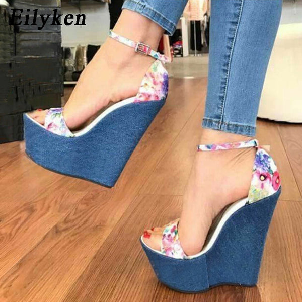 69ee0822cbc5 Eilyken 2018 New Summer Blue Floral Denim Sandals High Heel Platform W