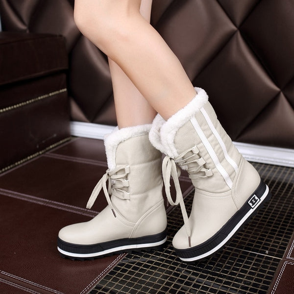 e79b335c68f ... Flat Platform Women Snow Boots Waterproof Winter Warm Shoes Casual  Plush Leather Mid-Calf Boots ...