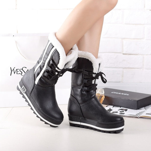 84e1411ddb5 ... Flat Platform Women Snow Boots Waterproof Winter Warm Shoes Casual  Plush Leather Mid-Calf Boots