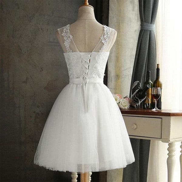 White Lace Evening Dress Bestie Bridesmaid Dresses Graduation Skirt Vestido De Noiva