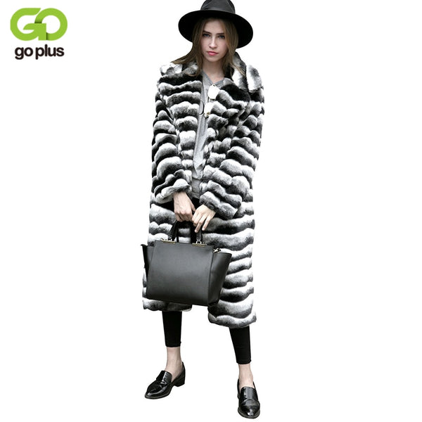GOPLUS New Woman Faux Fur 2018 Plus Size Women Clothing Winter Artificial Economy Mink Fur Coats Stripe Fake Fur Coats C4710