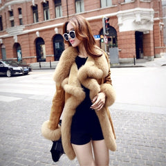 High Quality Warm Latest Winter Female Sheepskin Coats Pure Color Fox Collars Furs Big Yards Cashmere Coat PC006