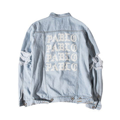 Kanye West Gothic Letter Sleeve Hole Denim Jacket Autumn Winter Washed Vintage Destroy Outwear Men's High Street Hip Hop Clothes